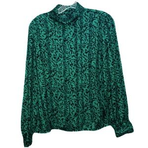 Nicola Emerald Green Sheer Panel Blousel S…